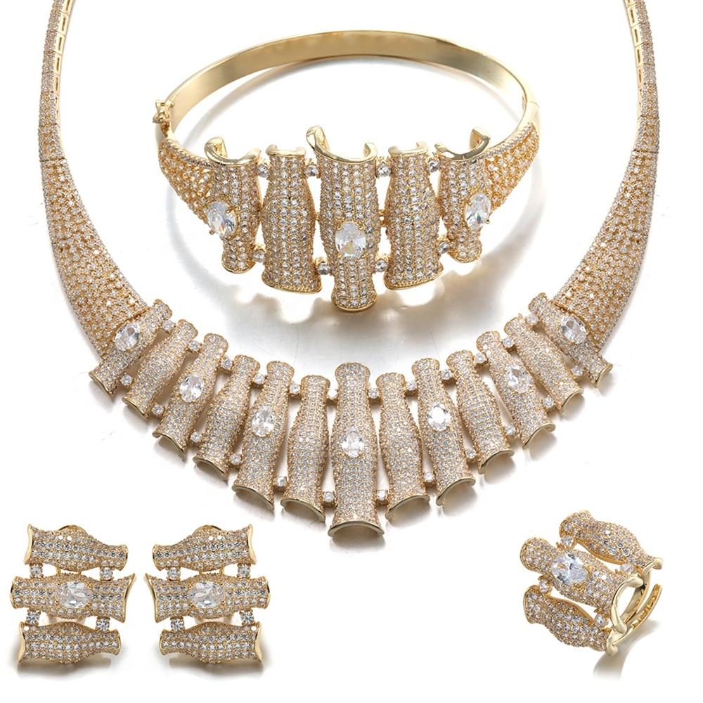 Mariée parler marque de luxe cubique Zircon boucle d'oreille et pendentif bijoux de mariée ensembles collier africain ensembles perles bijoux en laiton pour les femmes
