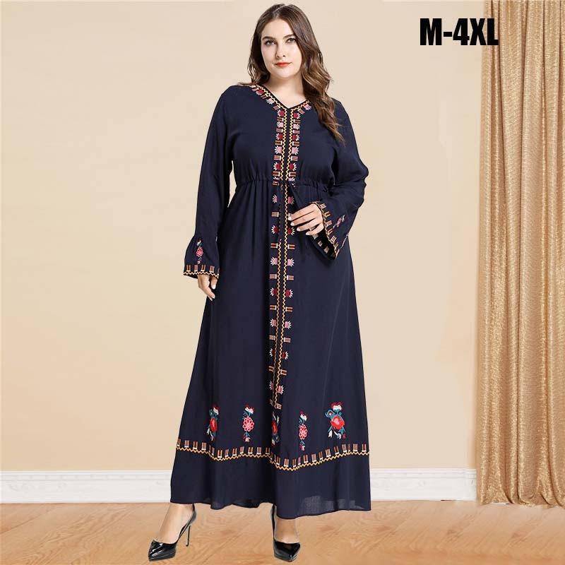 BNSQ Ethnic Embroidery Muslim Abaya Full Dresses Kimono Long Robe Gowns Jubah Dubai Middle East Ramadan Arab Islamic Clothing
