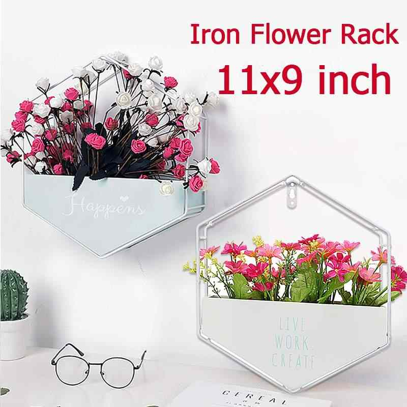 Iron Vintage Wall Hanging Storage Racks Flower Pot Decoration Organization Decorative Box for Home Kids Room Livingroom Office