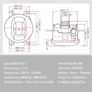 Image 3 - 2 Pieces LED Fog Light 30W 8000LM Car Front Bumper Fog Lamp 12V For Honda CR V CRV Pilot Accord Crosstour City Fit Insight CR Z