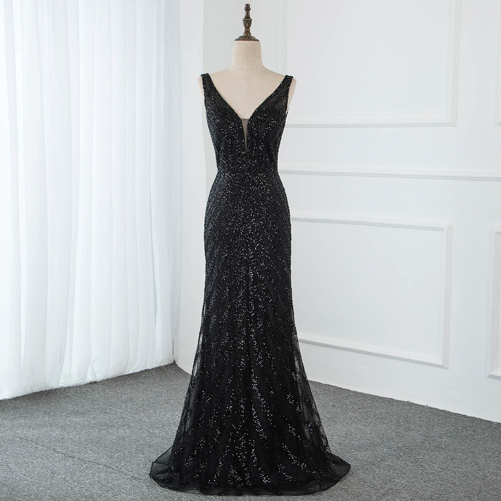 YQLNNE Sexy Black V Neck Beaded Evening Dresses Long Mermaid Backless Formal Dress Evening Gown Robe De Soiree