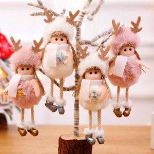 Image 3 - 2021 신년 선물 최신 크리스마스 귀여운 실크 봉제 천사 인형 크리스마스 트리 펜던트 노엘 크리스마스 장식 홈 2020 데코