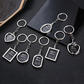Keychain Portable Useful Insert Picture Key Ring Creative New Metal Alloy Key Finder Photo Frame Trinket Car Key Ring Jewelry image