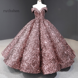 Image 5 - Dreamy Sequin Evening Dresses Long Off Shoulder Fluffy Luxury Princess Formal Party Prom Dress