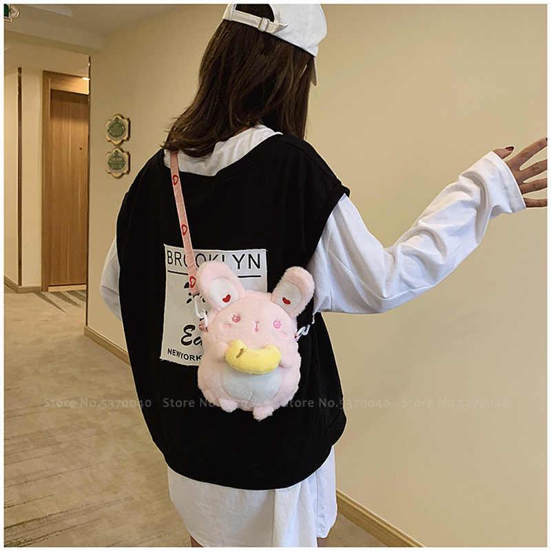 נשים קוריאני חורף פרווה קטיפה קריקטורה באני תיק בנות ארנב חמוד מתוק ורוד לב תרמיל יפני Kawaii ילדים בית ספר תיק