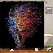 Retro style lion waterproof fabric polyester shower curtain shower curtain bathroom decoration accessories bathroom accessories door print fabric shower curtain