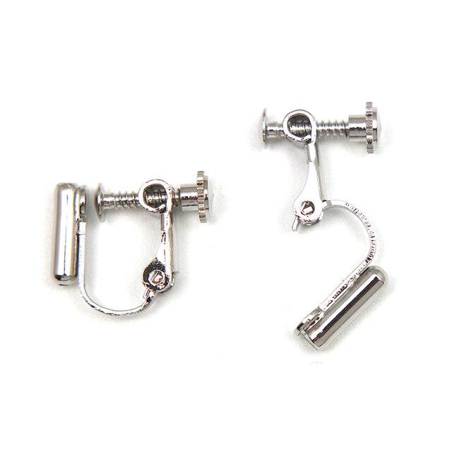 10 pièces/lot bricolage à la main pince sur boucle doreille convertisseurs vis oreille pince convertisseur tourner goujons argent aiguille en un Clip-on boucles doreilles JF55