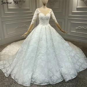 Image 1 - White Luxury Vintage O Neck Zipper Wedding Dresses 2020 Long Sleeves Beading Handmade Flowers Bride Gowns HA2314 Custom Made