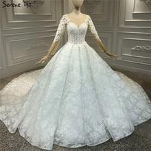 화이트 럭셔리 빈티지 o 넥 지퍼 웨딩 드레스 2020 긴 소매 구슬 수제 꽃 신부 가운 HA2314 맞춤 제작