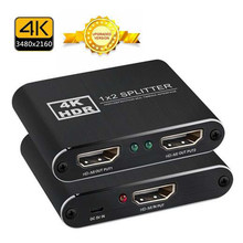 Мульти-Экран Дисплей 4K HD-MI сплиттер 1 Вход 2 Выход металл 1X2 HD-MI коммутатор коробка концентратор Поддержка 4K X 2K 3D 2160p 1080