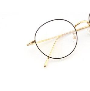 Image 4 - Saf titanyum gözlük çerçeve erkekler Vintage yuvarlak miyopi optik reçete gözlük çerçeveleri yeni kadın kadın Retro Oval gözlük