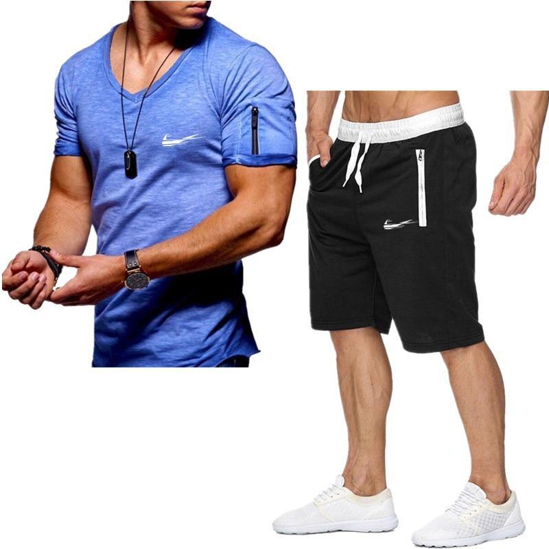 Мужской повседневный спортивный костюм из 2 предметов, футболка и шорты в полоску, летний спортивный костюм, 2021