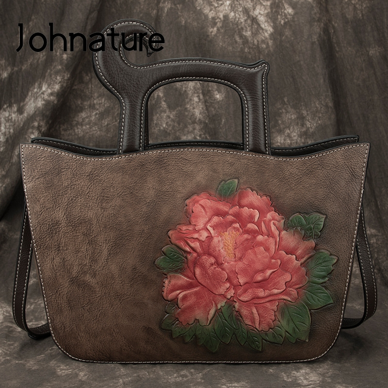 Johnature 2020 New Hand Painted Vintage Women Handbag Large Capacity Casual Tote Leisure Floral Female Shoulder Messenger Bag