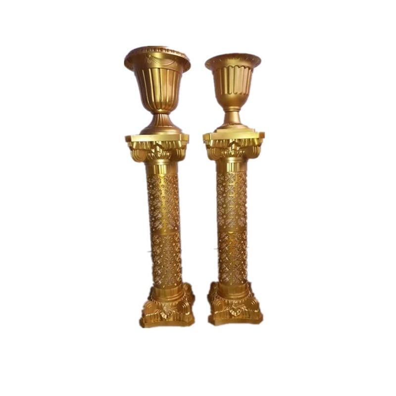 Wedding Roman Column Gold Plastic Flower Pot Road Lead Wedding Scene Layout Silk Flower T Stage Roman Column Decoration Props - 6
