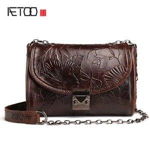 Image 1 - AETOO Bolso de cuero repujado Estilo vintage para mujer, bandolera pequeña de cuero de vaca, aceite de cera, bolso de hombro retro
