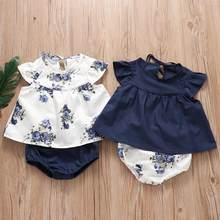 2 pçs bonito infantil bebê recém-nascido roupas da menina do verão camiseta + shorts da criança conjuntos de bebês