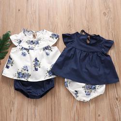 Милые комплекты одежды из 2 предметов; Для новорожденных; Для маленьких девочек одежда летняя футболка в европейском стиле + шорты для ребен...