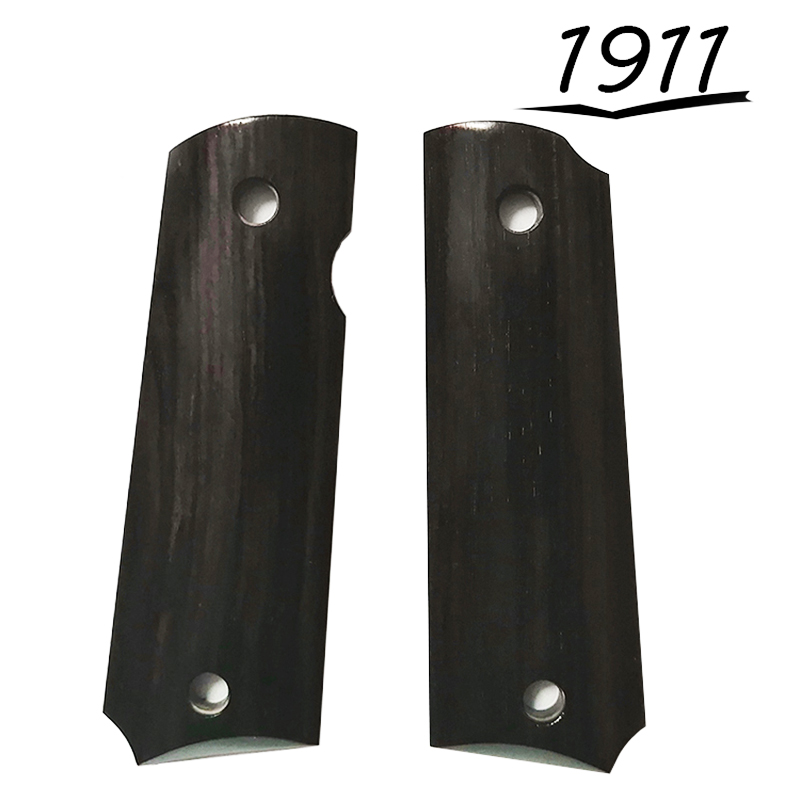2Pieces 1911 Grips African Ebony Handle Grips Patch Custom Grips CNC Handle Grips