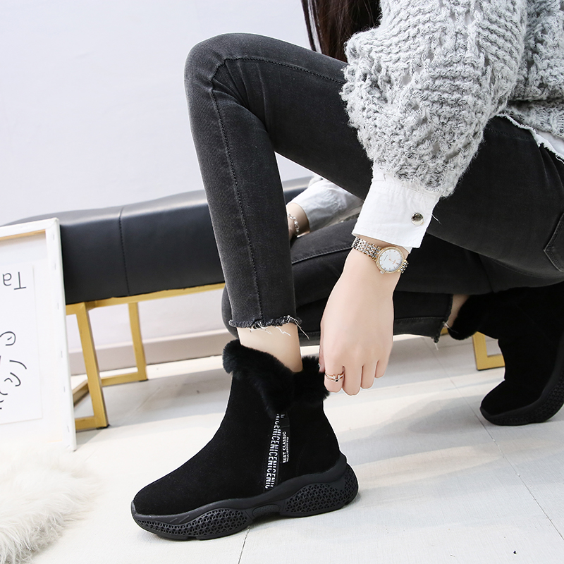 Winter Women Boots Suede Platform Sneakers Warm Plush Ankle Snow Boots Fashion Zipper Sport Running Shoes Solid Winter Shoes 34