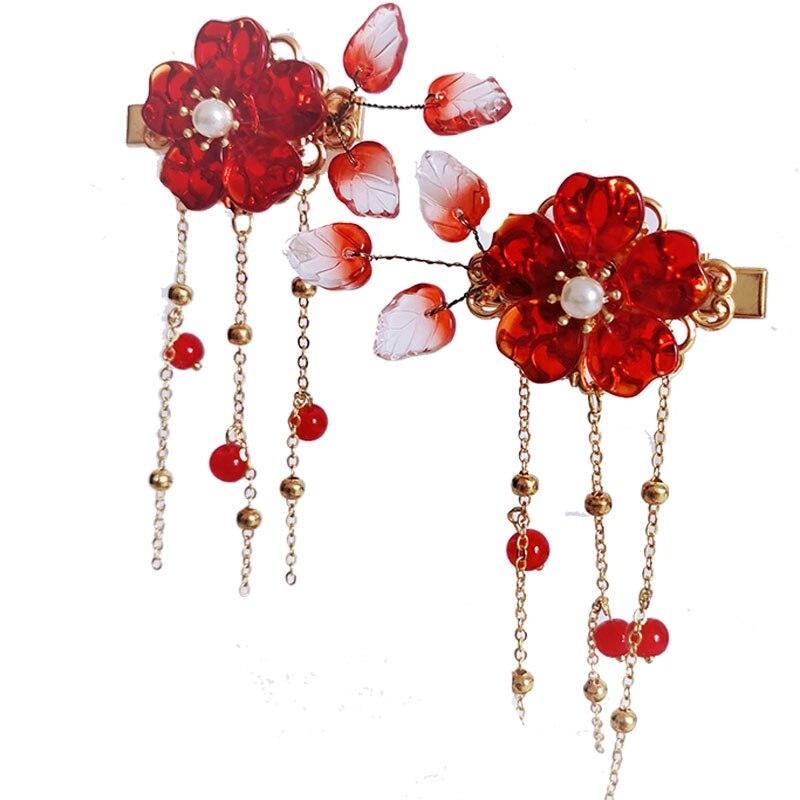 Retro Cute women girl flower Beads long Tassel Hairpin for Kimono Hanfu COS
