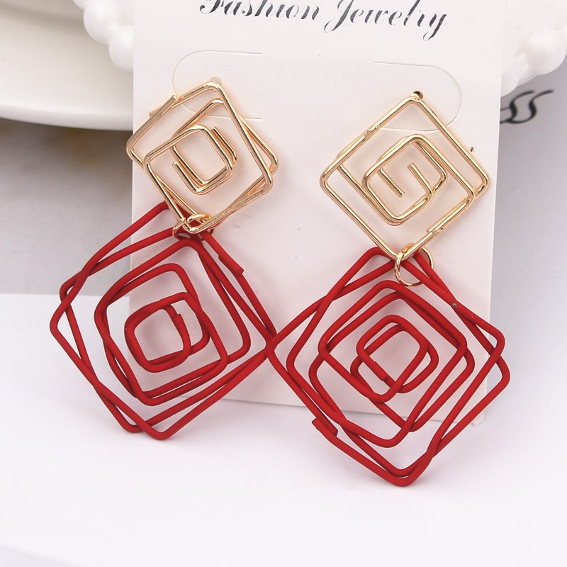Hot Sale Rhombus Drop Earrings Red Yellow Color Wire Spiral Square Earrings Metal Maze Exaggerated Party Jewelry Pendientes