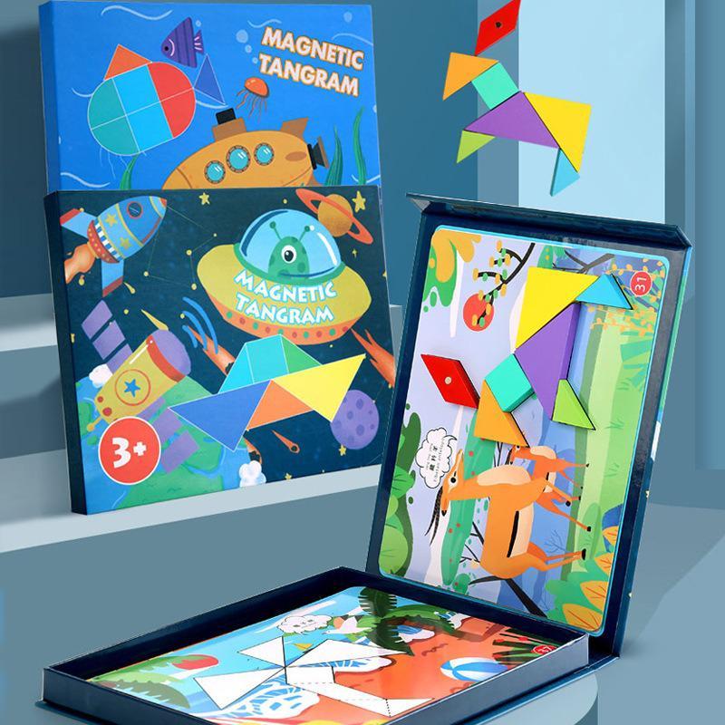 Crianças brinquedos de madeira dos desenhos animados livro tangram magnético quebra-cabeça placa auxiliar de ensino cedo brinquedos educativos para crianças presentes