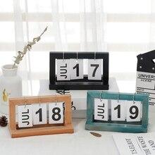 Vintage Desktop Wooden Letters Calendar Cube Block Home Decoration Accessories calendar 2021 Desk Calendar