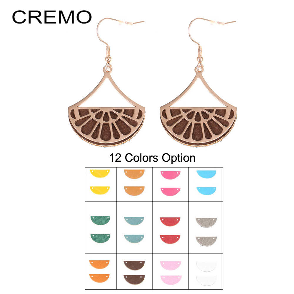 Cremo Vintage Fan Charm Earrings Leather Earrings for Women Drop Hanging Earrings Georgette Rose Gold Dangle Earrings Jewelry