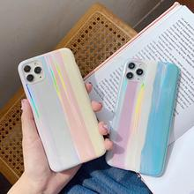 iPhone X XS Max XR Gradient Rainbow Laser Phone Case 11 7 8 Plus Soft Shell Silicone IMD Candy Color