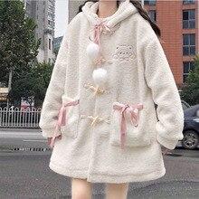 Artificial Coat Women Cute Kawaii Lolita Winter Cardigan Hooded Lambswool Coats   Korean Student Loose Padded Cotton Clothes New