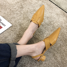 SLHJC Women Casual Stylish Spring Pumps Leather Med Heels Shoes