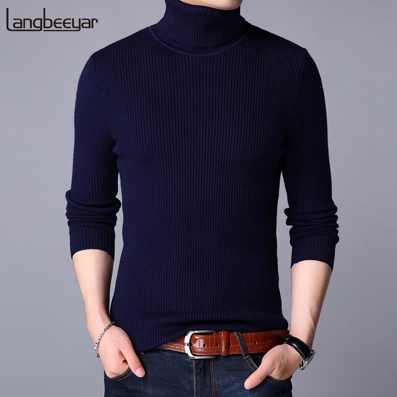 2019 New Fashion Brand Sweater Men Pullover Thick Slim Fit Jumpers Knitwear Solid Color Winter Korean Style Casual Mens Clothes