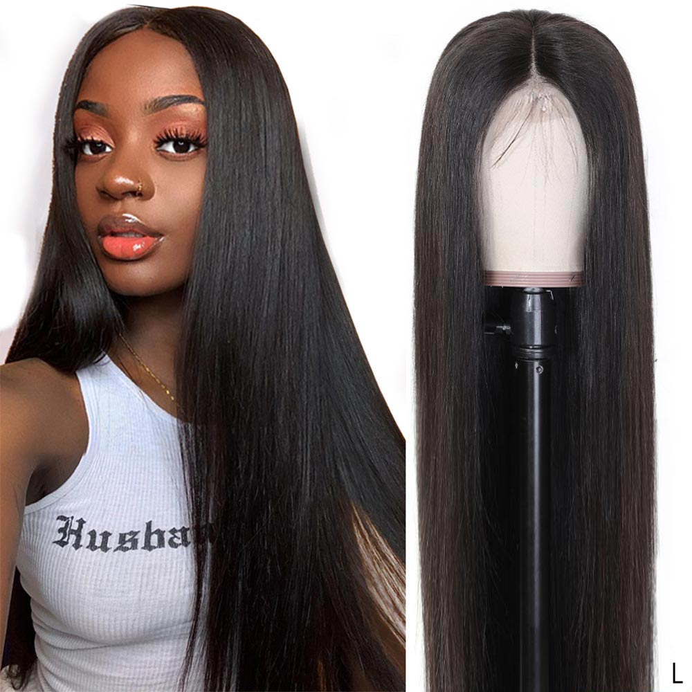 Remy Straight 13x4 Lace Front Wig Real Human Hair Toppers Sew In 150% Brazilian Hair Black Women's Wig Braided Up Pre Plucked