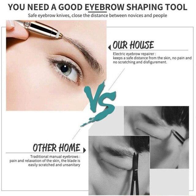 Electric Eyebrow Trimmer Makeup Painless Eye Brow Epilator For Women Mini Shaver Razors Portable Facial Hair Remover Female 3