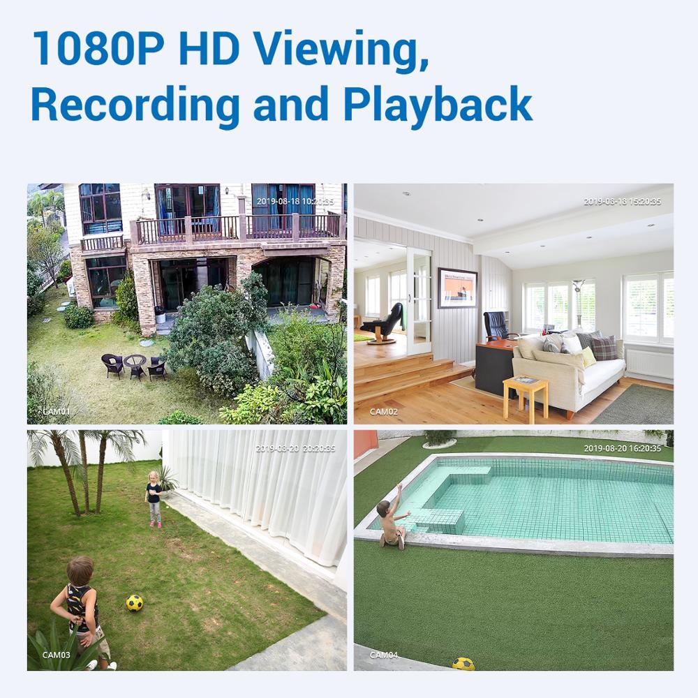 SANNCE 4CH HD 1080P XPOE CCTV Video NVR-system 4 STK 2MP POE - Säkerhet och skydd - Foto 2