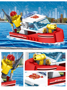 Image 5 - YUKALA  348pcs Fire Fighting Car Helicopter Boat Model Building Blocks City Firefighter Figures Trucks Bricks Childre