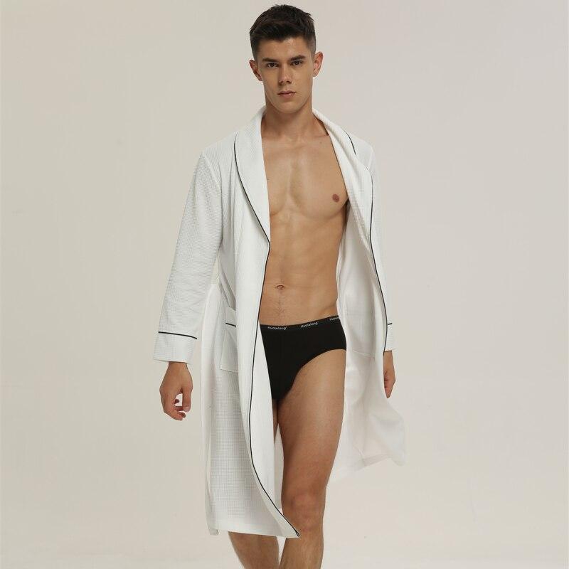 Man Spring Autumn Waffler Thin Robe Long  Sleeves Sexy  Pure Color Leisure Home Wear Bathrobe
