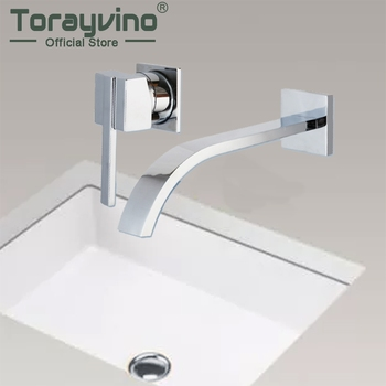 Wall Mounted Waterfall Spout Chrome Brass Bathroom Faucet Single Handle Hot And Cold Mixer Tap