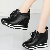 Trainers Women Lace Up Genuine Leather Platform Wedges High Heel Vulcanized Shoes Female Round Toe Fashion Sneakers Casual Shoes