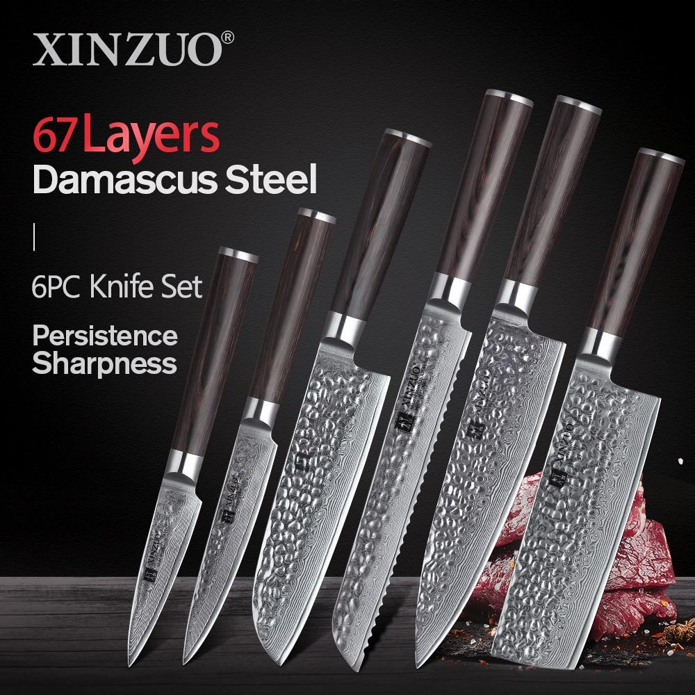 XINZUO Knife-Set Kitchen Damascus Chef Nakiri Paring Steel Utility Santoku 6pcs Pakkawood-Handle