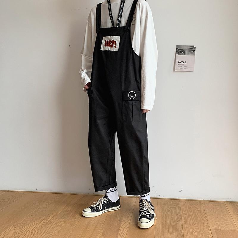 Men's Leisure Casual Pants Male Salopettes Harem Cargo Black/khaki Color Jumpsuit Rompers Loose Fashion Trousers Plus Size M-XL