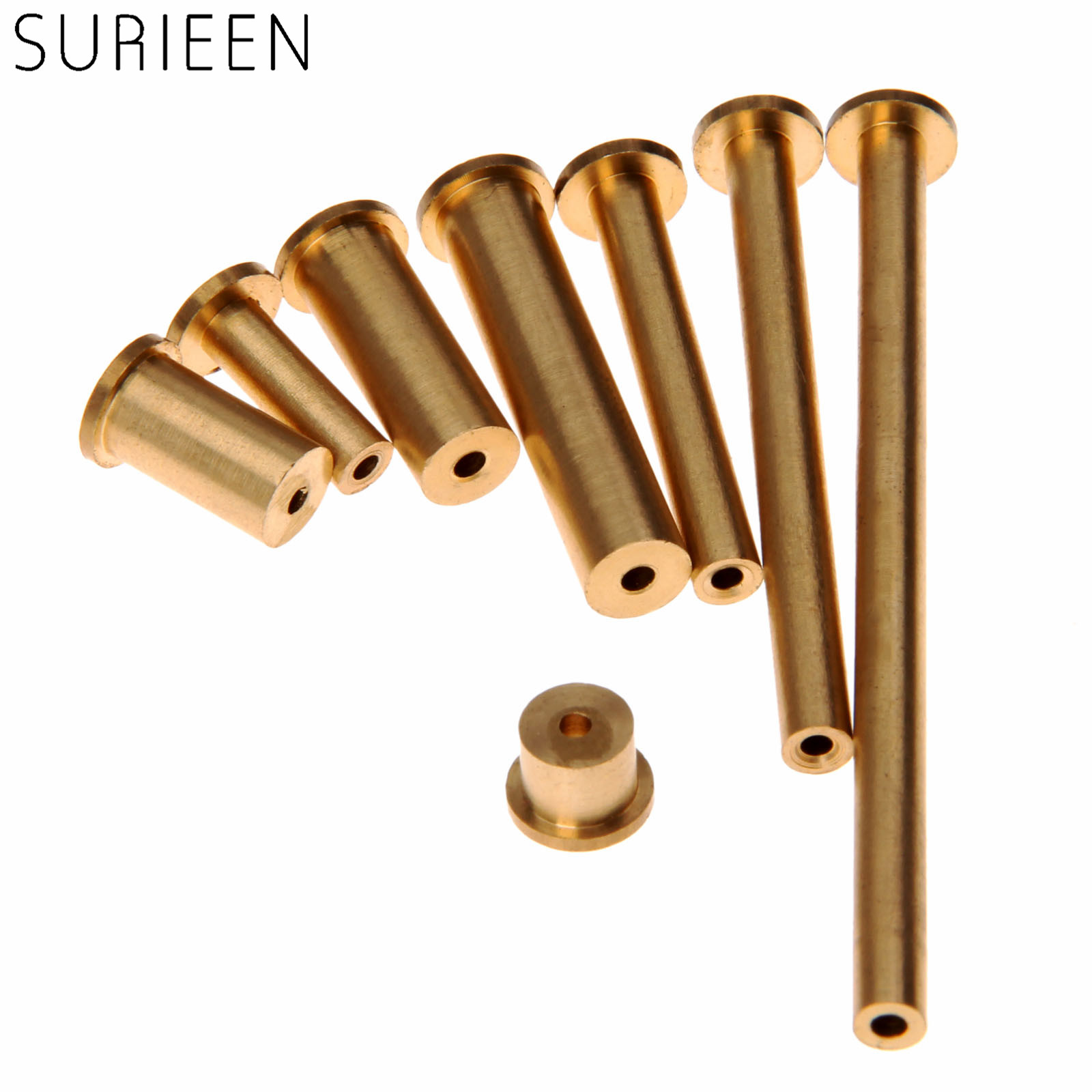 SURIEEN 8Pcs/ Set Gold Copper Nail Brass Plug Golf Weight Weights For .335 .355 .370 Tip Steel Shaft 2g 4g 6g 8g Club Head Kits