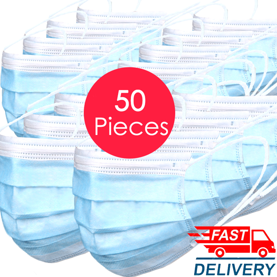 In Stock ! High Quality 50 PCS Non Woven Disposable Face Masks 3 Layers Earloop Anti-Dust Mask Disposable Mouth Mask