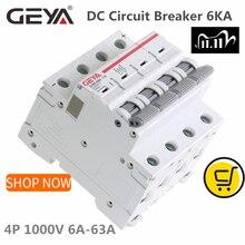 GEYA MCB DC 1000V MCB מיני DC 6A 10A 16A 20A 25A 32A 40A 50A 63A 4 קטבים IEC60947