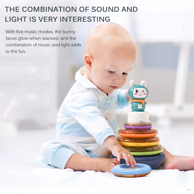 Baby Rainbow Tower Tumbler Music Toys Circle Stacking Rings With Musical Toy Infant Cartoon Tumblers Toys Rabbit Jenga Xmas Gift