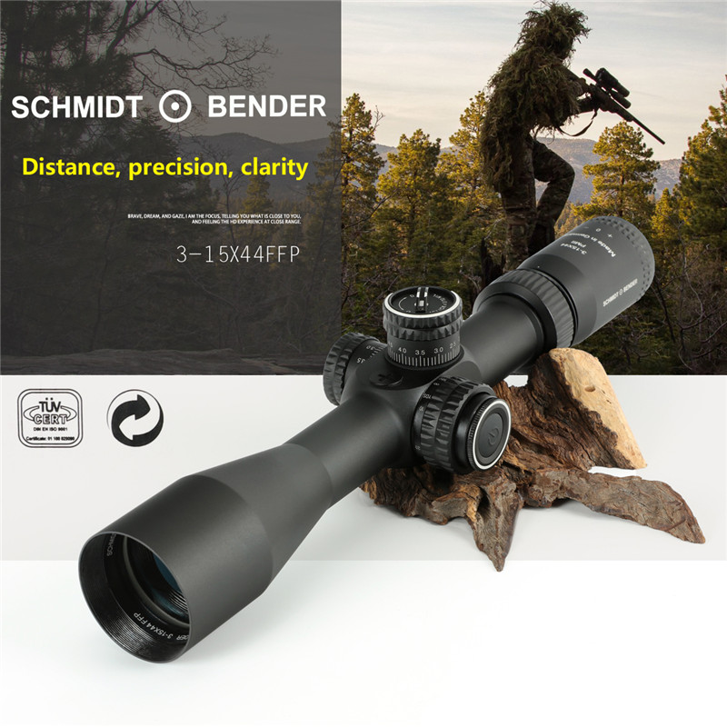 Oхота Hunting Scope Schmidt Bender 3-15x44 FFP оптический прицел For AK 47 For Airgun   прицел Caza Riflescope For Hunting