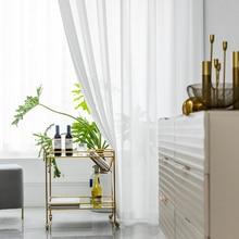 Белая Тюлевая занавеска s для украшения гостиной, Современная шифоновая сплошная прозрачная вуаль, занавеска для кухни