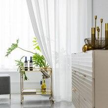Beyaz tül perdeler oturma odası dekorasyonu için Modern şifon katı şeffaf vual mutfak perdesi