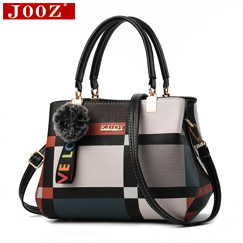 JOOZ Women's bag new fashion bucket of the shoulder bag High Quality PU Leather Messenger bag ladies hairball pendant handbag title=