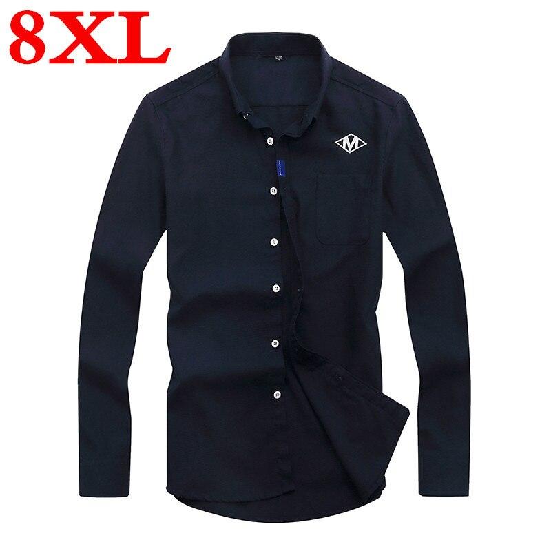 Plus Size 8XL 7XL 6XL 5XL 4XL Spring Autumn Cotton Dress Shirts High Quality Mens Casual Shirt Casual Men Slim Fit Social Shirts